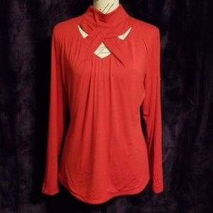 NWT INC red mock turtleneck with front cut out